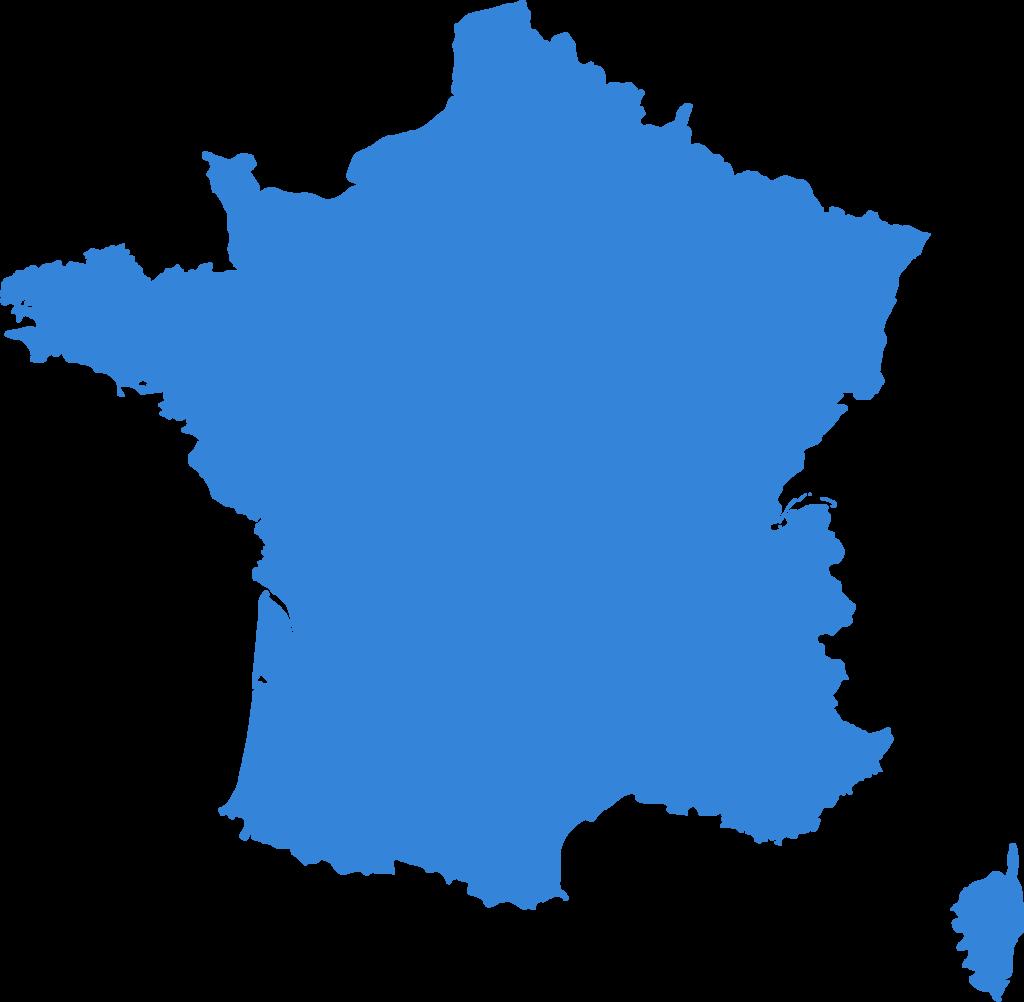 Illustration de couleur bleu de la France métropolitaine et de la Corse